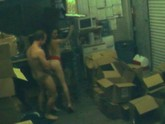 Security Cam Captures Illicit Inventory Room Amateur Suck and Fuck
