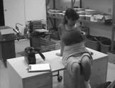 Big boobed amateur caught masturbating on CCTV