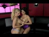 blonde and brunette lesbians have fun fucking and licking each other