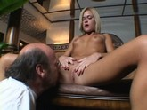 Small Titted Blonde Teen Gives An Older Man  A Close-up View While Masturbating With A Red Vibrator.