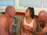 Hot interracial group action as hot asian cutie polishes a knob while being pounded hard.