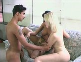 Guy fucks a tranny and a blonde girl