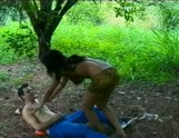 South American Tranny fucks a guy outdoors